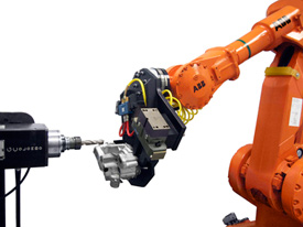 With force control, instead of overloading the machine when a large burr is encountered, the robot performing this casting-deburring operation will automatically back off and grind it in several passes.
