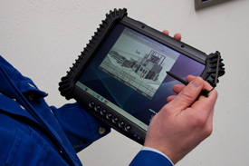 Haver Service Pad is a tablet PC that gives users a wireless connection to Haver's remote customer support service for monitoring and maintaining their filling machines.
