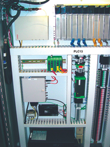 Source: Curry Controls - This panel is equipped with PLCs (right), an access point (top left), and directly below the access point are industrial Ethernet switches with fiberoptic connectivity.
