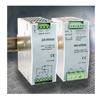 Two DIN-rail-mount power supply control modules enable parallel/redundant operation and battery backup/UPS to a power products ranging 20–960 W in industrial electrical enclosures.
