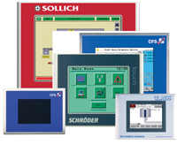 Stainless-steel PC-based displays with touchscreens and/or keyboards, operator panels and text displays, or thin clients for remote visualization via Ethernet can be used in clean and hygienic applications.
