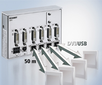 CU8810 DVI/USB splitter connects multiple industrial displays, such as four displays showing the same image or two separate images connected to the same PC.