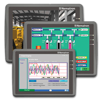 PowerView 8000 Series operator interface with Ethernet and USB connectivity in 5.6-in. QVGA, 8-in. VGA, 10.4-in. VGA, and 12.1 in.-SVGA sizes have 65K color TFT LCD display with analog resistive touchscreen.