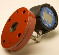 Series 45 pressure sensor prevents the overflow of tanks. Its remote digital readout lends itself to installation in flange outlets on storage tanks.