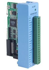 ADAM-5081 is a high-speed quadrature encoder and counter module for use with the ADAM-5550 series programmable automation controllers (PACs)